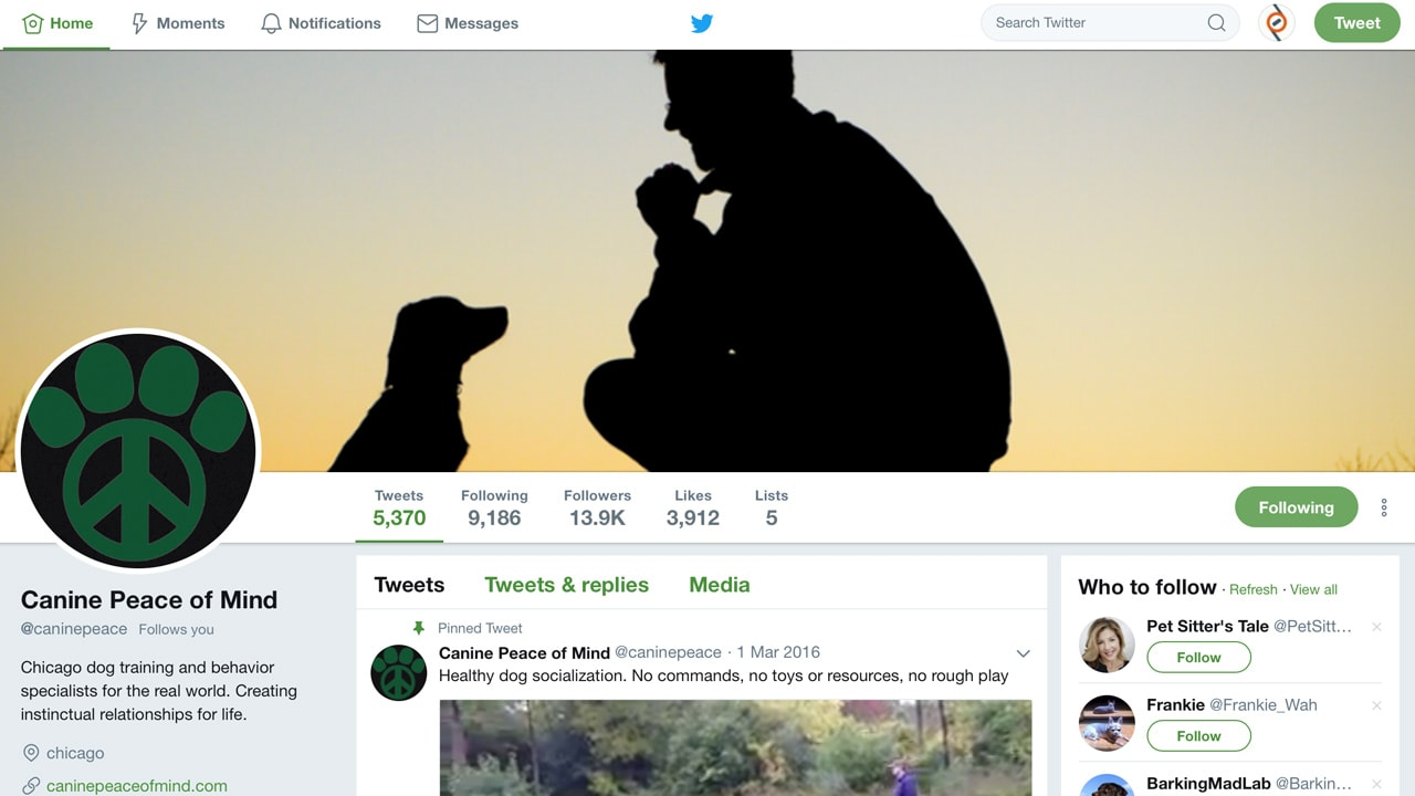 Canine Peace of Mind's Twitter