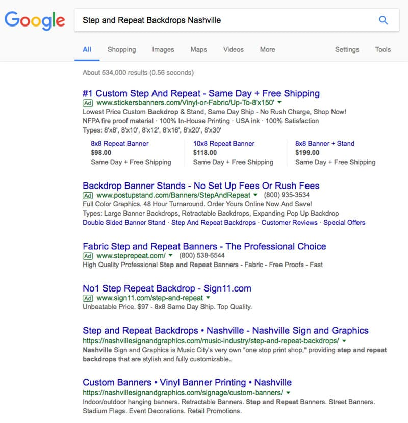 Nashville Sign and Graphics SEO Results