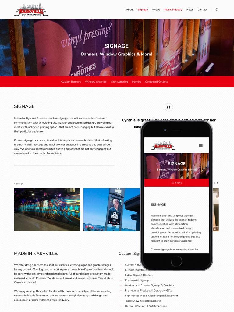 Nashville Sign and Graphics Web Design