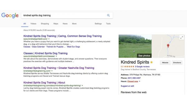 Local SEO and Google My Business for Kindred Spirits